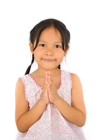 an obeisance: Cute asian girl pay salute of Thailand sountheast asia