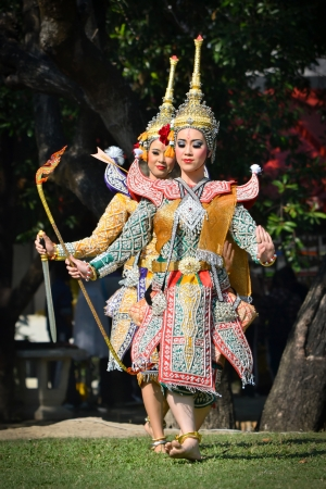 thai dancing: khon show in a drama ramayana of thailand southeast asia