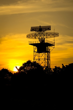 silhouette radar tower plane Stock Photo - 16124718