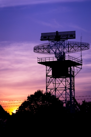 silhouette radar tower plane photo