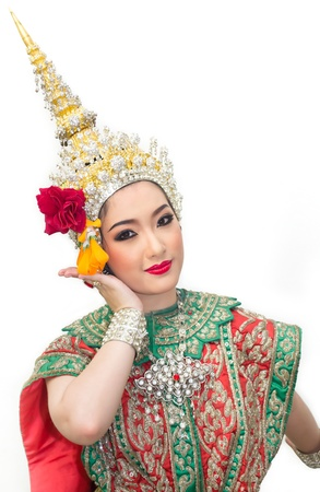 obeisance: beautiful asian women in traditional costume of thailand southeast asia