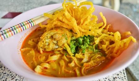 soi: Kaow Soi Kai Curry Noodles Of Thailand Stock Photo
