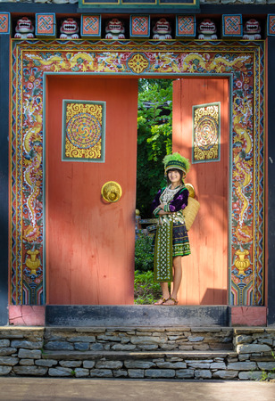 cute asian young girl in beautiful hill tribe  HMONG  costume of northern thailand photo