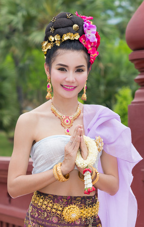 Thai Woman In Traditional Costume Of Thailand Banque d'images
