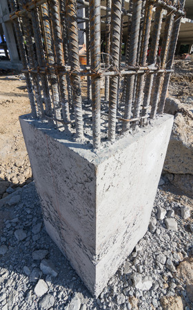 cement pole: cement prop in  building construct site Stock Photo