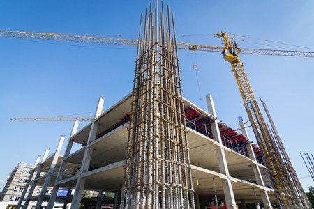 cement pole: cement prop in  building construct site Editorial