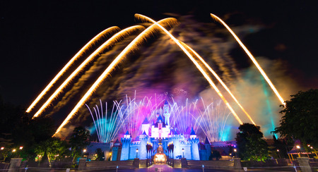Hong Kong DisneyLand, November 24, - Cinderela Castle And The Famous Stars Firework Show Every Night Of DisneyLand, Hong Kong 2014
