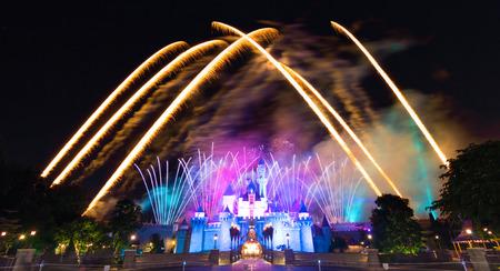 Hong Kong DisneyLand, November 24, - Cinderela Castle And The Famous Stars Firework Show Every Night Of DisneyLand, Hong Kong 2014