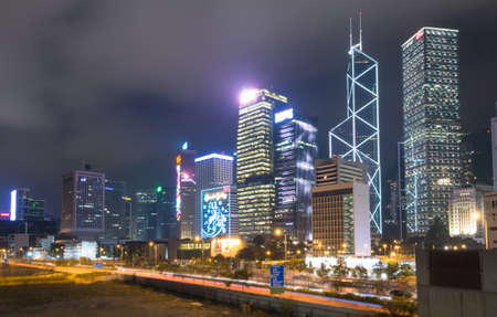 icc: Hong Kong City Scape And Mist In Sky Stock Photo