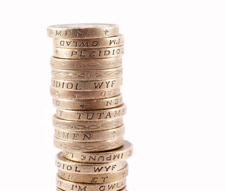 coinage: Stack of one pound coins