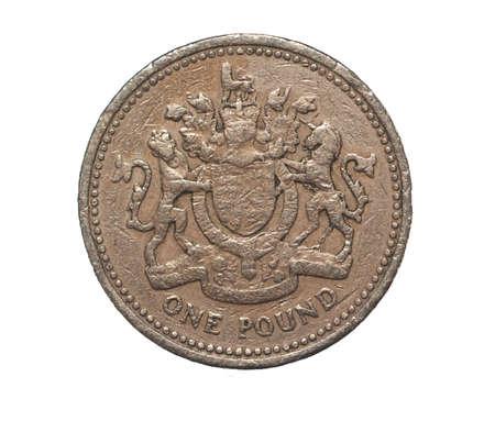 スターリング: 白で隔離される単一イギリス ポンド硬貨 写真素材