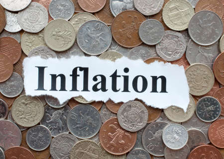Inflation - abnehmender Wert des Geldes Standard-Bild