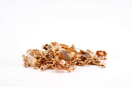 Een stapel van schroot goud Stockfoto