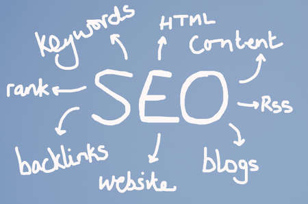 backlinks: SEO concept chart on blue sky background