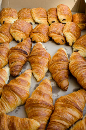 fresh bakery: Box of bread and croissants from French bakery Stock Photo
