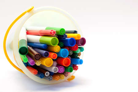 tipped: Selection of felt tipped pens lying in a bucket