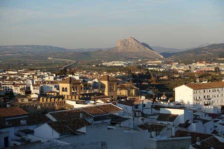 pena: Looking over the town of Antequera towards Pena de los Enamorados or Lovers Rock