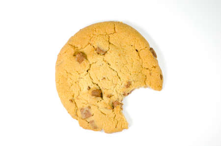 missing bite: Cookie with bite missing on white background Stock Photo