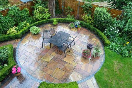 English patio in the rain
