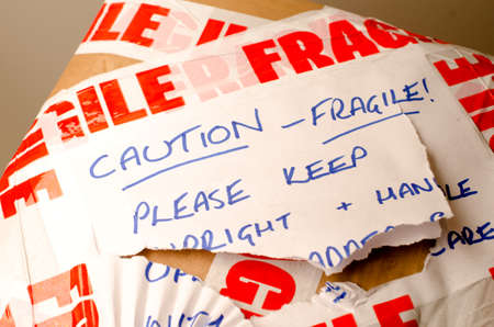 Parcel with fragile sticker
