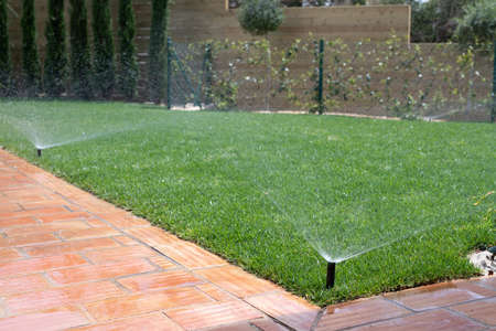 Garden irrigation system with sprinklers to water the grass
