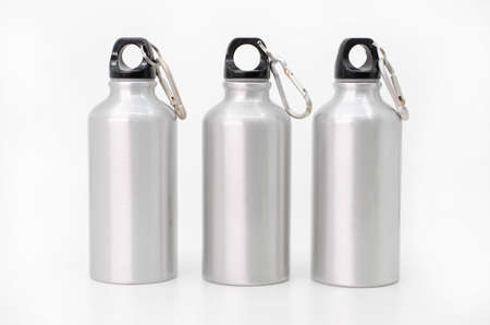Three reusable water bottles on a white background