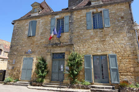 Domme, France 15 July 2019: The town hall in the centre of Domme, a bastide town in the Dordogne, France Editoriali