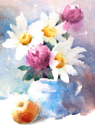 Daisies flowers watercolor illustration 版權商用圖片