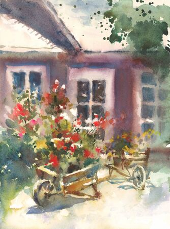 Flower Carts watercolor rustic rural illustration