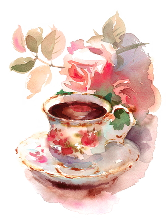 Acuarela Vintage Taza de porcelana y Jardín Rosas Flores Floral Ilustración pintada a mano Foto de archivo