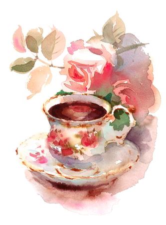 Aquarel Vintage porseleinen theekopje en tuin rozen bloemen Floral handgeschilderde illustratie