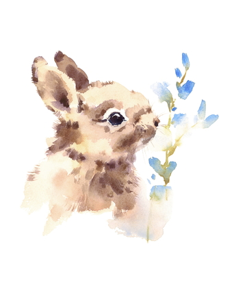 Schattige baby Bunny Rabbit ruikende blauwe bloemen Aquarel Hand getrokken huisdier dieren zomer illustratie geïsoleerd op een witte achtergrond Stockfoto