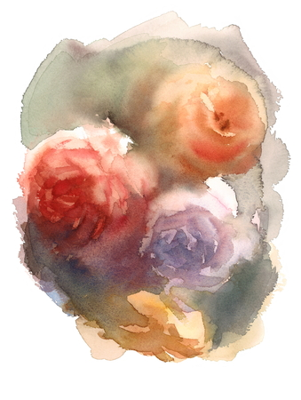 Abstract Watercolor Roses Floral Background Texture Hand Painted Illustration