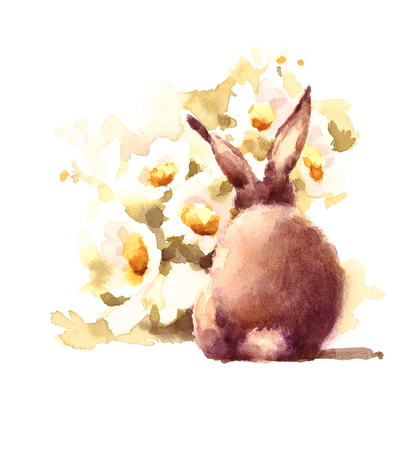 Cute Baby Bunny Rabbit smelling daisies flowers Watercolor Hand Drawn Pet Animal Summer Illustration isolated on white background