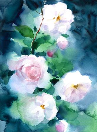 De witte Rozen op Donkere Achtergrondwaterverf bloeit de Bloemen Hand Geschilderde Illustratie van de Groetkaart Stockfoto