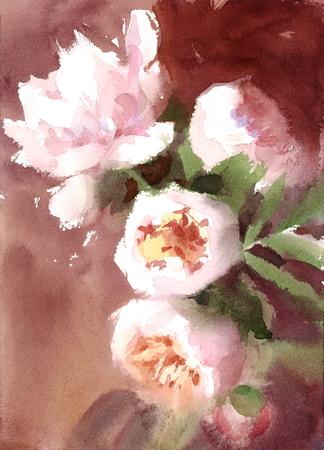 Aquarel pioenrozen zomer bloemen handgeschilderde bloemen wenskaart bruiloft illustratie