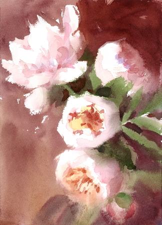 Watercolor Peonies Summer Flowers Hand Painted Floral Greeting Card Wedding Illustration