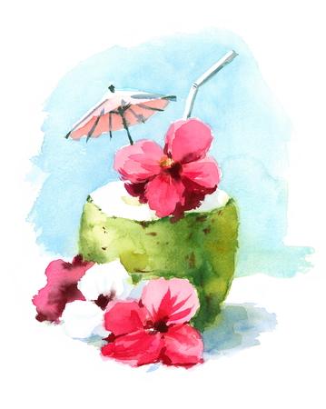 Aquarel Cocktail drinken in Coconut Shell Handgeschilderde strand tropische Caribische vakantie zomer illustratie