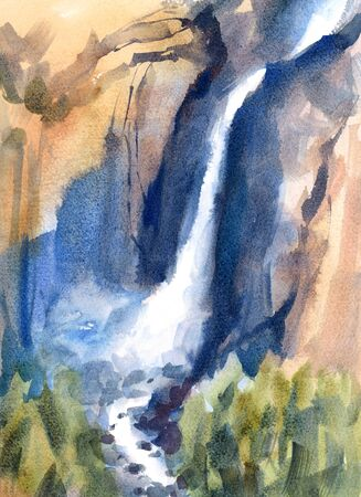 Waterfall Yosemite Falls Landscape Watercolor Hand Painted Illustration