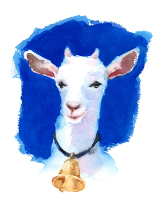 White Goat Wearing a Bell Watercolor Hand Painted Farm Animals Illustration on bright blue background