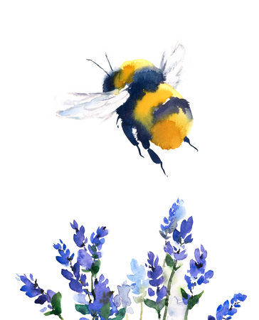 Watercolor Bumblebee Flying Over Blue Flowers Hand Painted Summer Illustration isolated on white background