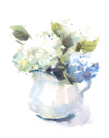 Ramo de flores de Hortensia de acuarela en una ilustración de fondo floral de florero Ilustración pintada a mano aislada sobre fondo blanco Foto de archivo - 83021616