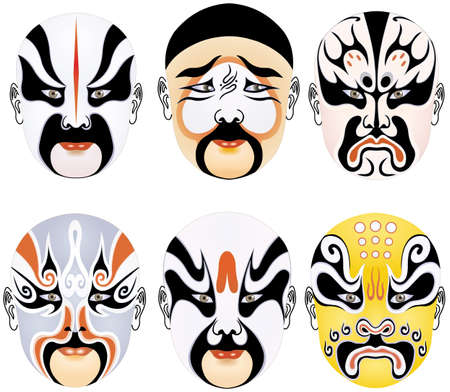 exaggerate: types of facial make-up in Beijing opera set fifteen Stock Photo