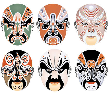 exaggerate: types of facial make-up in Beijing opera set seventeen Stock Photo