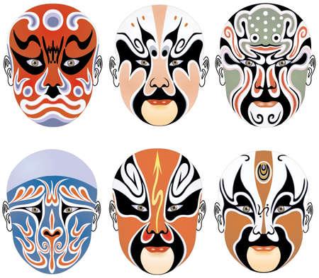 nineteen: tipi di viso make-up a Pechino l'opera insieme diciannove  Archivio Fotografico