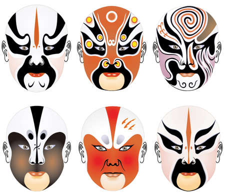 seriousness: types of facial make-up in Beijing opera set eighteen