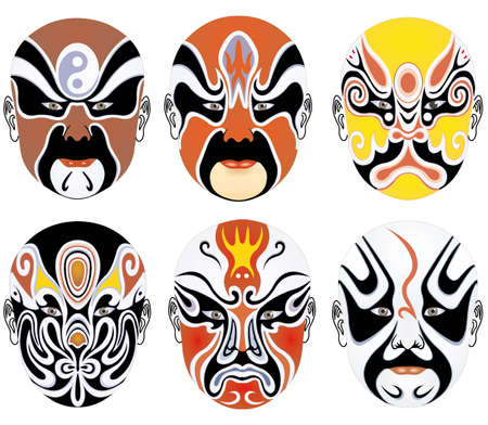 eleven: types of facial make-up in Beijing opera set eleven
