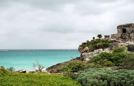 Ocean view on cloudy day Tulum Mexico Stok Fotoğraf