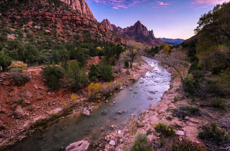 Sunset at Watchman Peak above the Virgin river, Zion National Park, Utah photo