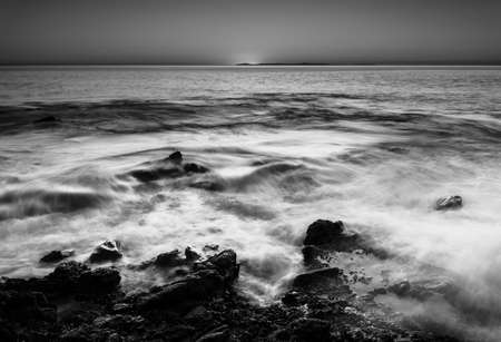 fluctuate: Beautiful water flow and waves at sunset time, Victoria Beach, Long Beach